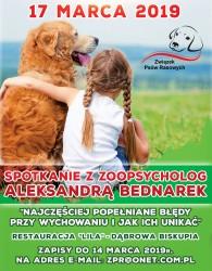 Związek Psów Rasowych - Spotkanie z zoopsycholog połączone z warsztatami